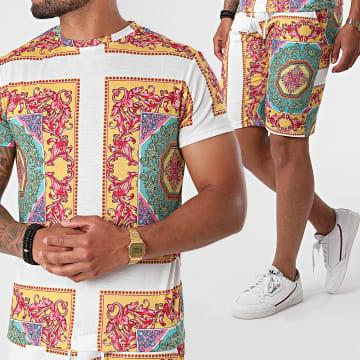 Frilivin - Ensemble Short Tee Shirt 93521 Blanc Jaune Renaissance Floral