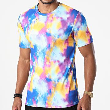 Frilivin - Tee Shirt 15257 Bleu Jaune Rose