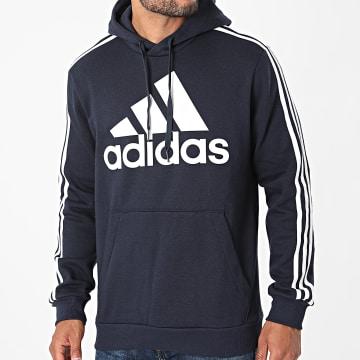 Adidas Performance - Sweat Capuche A Bandes Big Logo 3 Stripes H14642 Bleu Marine
