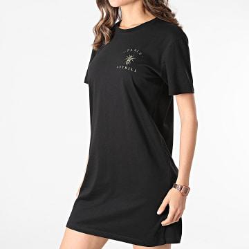 Anthill - Robe Tee Shirt Femme Chest Logo Noir Doré