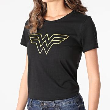 DC Comics - Tee Shirt Femme Big Logo Noir Doré