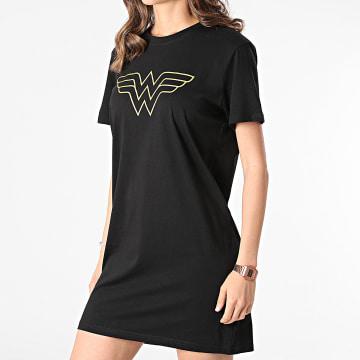 DC Comics - Tee Shirt Robe Femme Big Logo Noir Doré