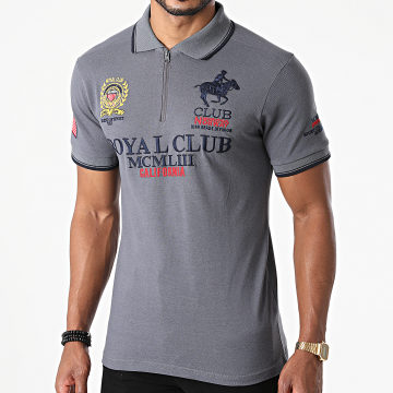 Geographical Norway - Polo Manches Courtes Keratine Gris Anthracite