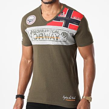 Geographical Norway - Tee Shirt Col V Jidney Vert Kaki