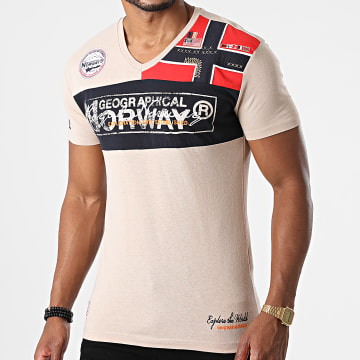 Geographical Norway - Tee Shirt Col V Jidney Beige