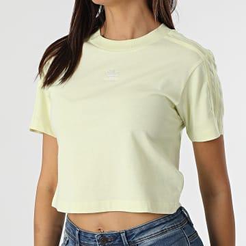 Adidas Originals - Tee Shirt Crop Femme A Bandes Tennis Luxe H56452 Jaune Clair