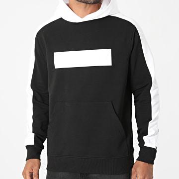 Calvin Klein - Sweat Capuche A Bandes Blocking Logo 8169 Noir Blanc