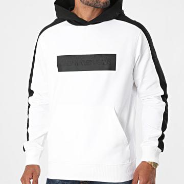 Calvin Klein - Sweat Capuche A Bandes Blocking Logo 8169 Blanc Noir