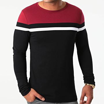 LBO - Tee Shirt Manches Longues Tricolore 1815 Bordeaux Blanc Noir