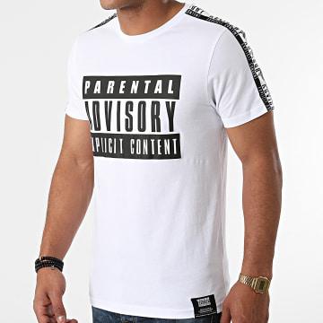 Parental Advisory - Tee Shirt A Bande Tape Blanc Noir