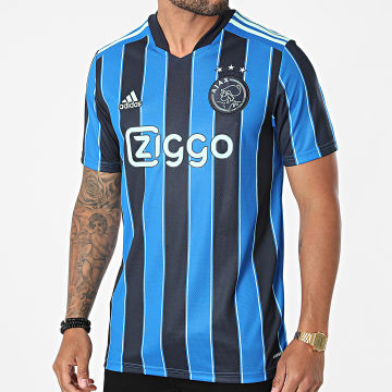 Adidas Performance - Tee Shirt De Sport A Rayures Ajax GT7130 Bleu Roi Bleu Marine