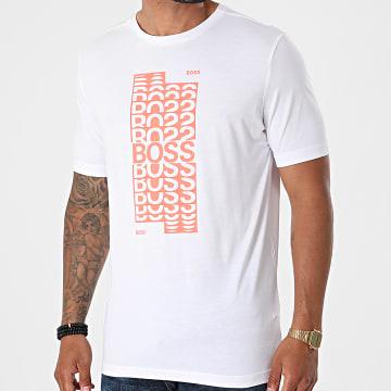 BOSS - Tee Shirt 50452841 Blanc Orange Fluo