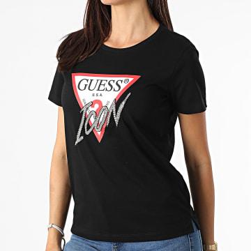 Guess - Tee Shirt Femme A Strass W1YI0Y-I3Z00 Noir