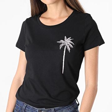 Luxury Lovers - Tee Shirt Femme Palm Noir Rose