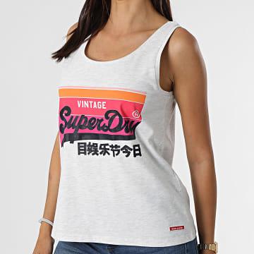 Superdry - Débardeur Femme Cali Gris Chiné