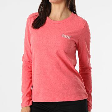 Superdry - Tee Shirt Manches Longues Femme Orange Label Corail