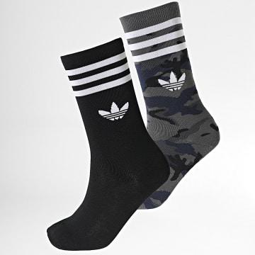 Adidas Originals - Lot De 2 Paires De Chaussettes Camo Crew H32344 Noir Gris Camouflage