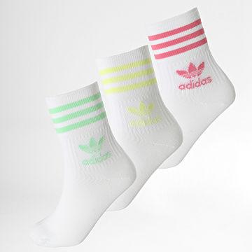 Adidas Originals - Lot De 3 Paires De Chaussettes Mid Cut Crew H62015 Blanc