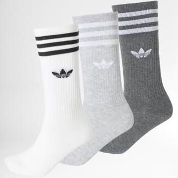 Adidas Originals - Lot De 3 Chaussettes Solid Crew H62021 Gris Chiné Blanc