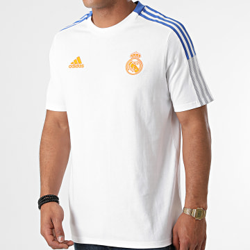 Adidas Performance - Tee Shirt A Bandes Real Madrid GU9711 Ecru