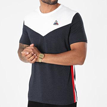 Le Coq Sportif - Tee Shirt Saison 1 N1 2120320 Blanc Bleu Marine Chiné