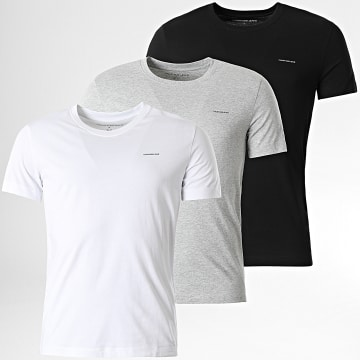 Calvin Klein - Lot De 3 Tee Shirts 7634 Blanc Noir Gris Chiné