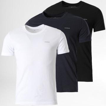 Calvin Klein - Lot De 3 Tee Shirts 7634 Blanc Noir Bleu Marine