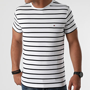 Tommy Hilfiger - Tee Shirt A Rayures Stretch Slim Fit 0800 Blanc Bleu Marine