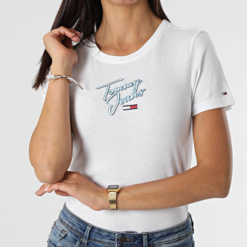 Tommy Hilfiger - Tee Shirt Femme Skinny Script 9558 Blanc