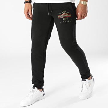 Anthill - Pantalon Jogging Leaf Logo Noir Or