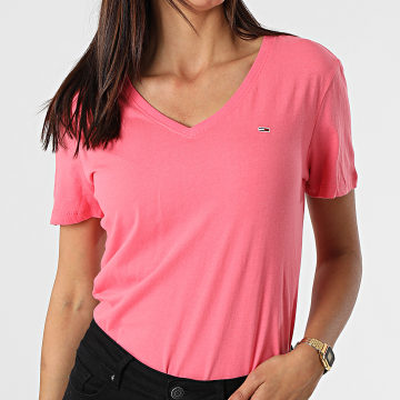 Tommy Jeans - Tee Shirt Slim Femme Soft 9385 Rose