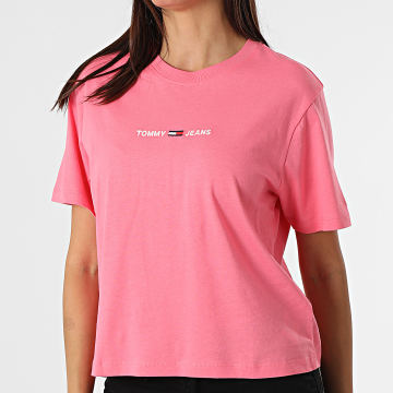 Tommy Jeans - Tee Shirt Crop Femme BXY Linear 0057 Rose