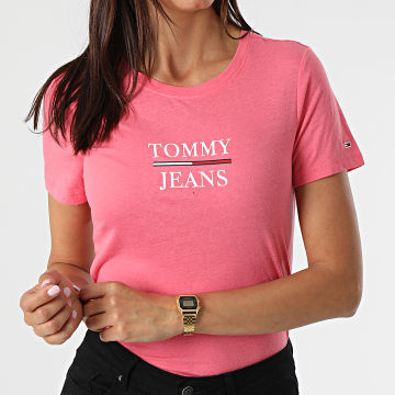 Tommy Jeans - Tee Shirt Skinny Femme Essential Tommy 0411 Rose