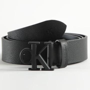 Calvin Klein - Ceinture Cuir Rounded Mono Plaque 7065 Noir