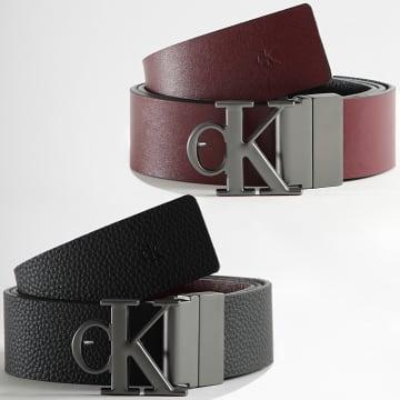 Calvin Klein - Ceinture Cuir Réversible Rounded Mono Plaque 7066 Noir Marron