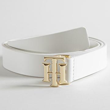 Tommy Hilfiger - Ceinture Femme Logo Leather 0075 Blanc