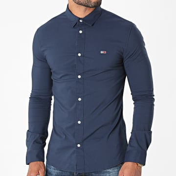 Tommy Jeans - Chemise Manches Longues Skinny Solid 9699 Bleu Marine