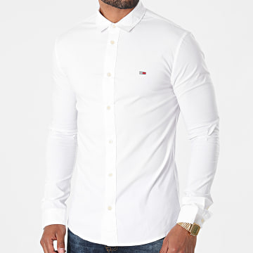 Tommy Jeans - Chemise Manches Longues Skinny Solid 9699 Blanc