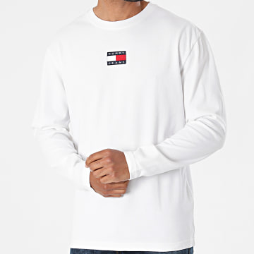 Tommy Jeans - Tee Shirt Manches Longues Tommy Badge 0932 Ecru