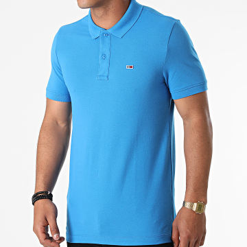 Tommy Jeans - Polo Manches Courtes Classic Solid Stretch 9439 Bleu Azur