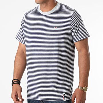 Tommy Jeans - Tee Shirt A Rayures 9740 Gris Chiné Bleu Marine