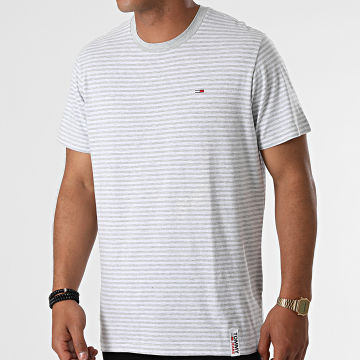 Tommy Jeans - Tee Shirt A Rayures Stripe Tab 9740 Gris Chiné Blanc