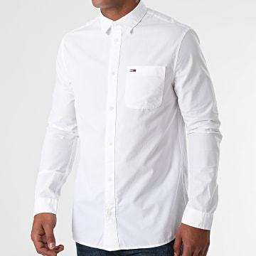 Tommy Jeans - Chemise Manches Longues Peached Poplin 0982 Blanc