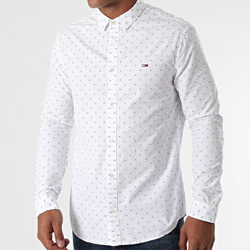 Tommy Jeans - Chemise Manches Longues Poplin Dobby 0984 Blanc