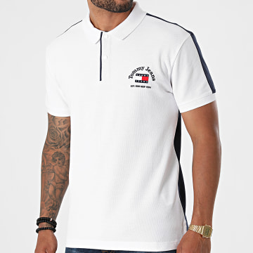 Tommy Jeans - Polo Manches Courtes Timeless Tommy Block 9627 Blanc Bleu Marine