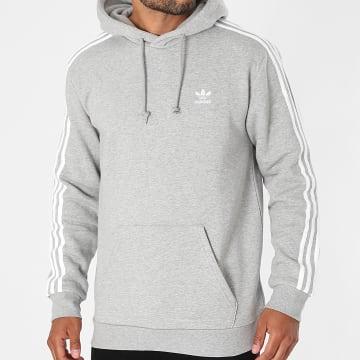 Adidas Originals - Sweat Capuche A Bandes 3 Stripes H06675 Gris Chiné