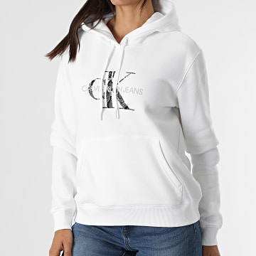 Calvin Klein - Sweat Capuche Femme Reptile Monogram 6236 Blanc