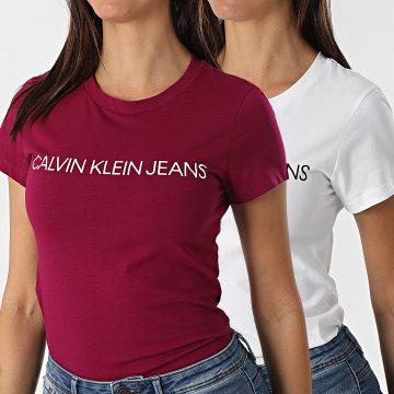 Calvin Klein - Lot De 2 T-Shirts Femme 4364 Blanc Bordeaux