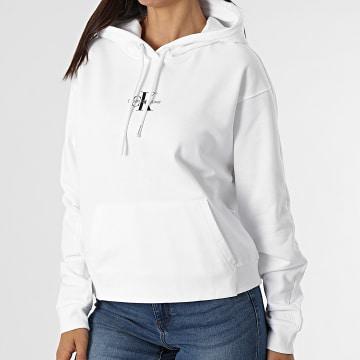 Calvin Klein - Sweat Capuche Femme Cropped Monogram 6232 Blanc