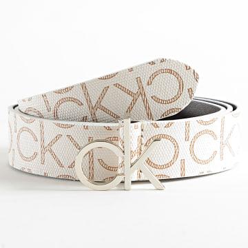Calvin Klein - Ceinture Femme Logo Belt 7334 Blanc